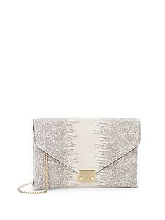 Snake-Embossed Leather Lock Clutch