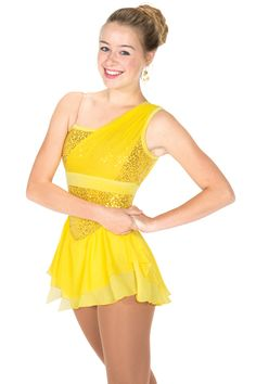Jerry's figure Skating Dress #115 - Swags & Sequins Dress - Yellow. Swags & Sequins Dress - Fully sequined dress with a swag of mesh over sequins at one shoulder and a clear adjustable strap at the other. Matching skirts feature a slightly slanted sheer mesh top layer over a symmetrically shaped georgette underskirt.