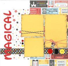 MAGIC KINGDOM scrapbook page kit, disney scrapbook pages, disney scrapbook page kit, scr Ideas Scrapbook, Recipe Scrapbook, Disney Scrapbook Pages, 12x12 Scrapbook, Scrapbook Templates, Scrapbook Sketches, Scrapbook Page Layouts, Scrapbook Supplies, Scrapbook Stickers