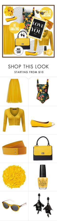 """""""in love with yellow"""" by silver-sun ❤ liked on Polyvore featuring Rochas, FAUSTO PUGLISI, Restricted, Nine to Five, Illamasqua, OPI, Vans, Oscar de la Renta, Spring and bodysuits"""