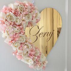 Kişiye Özel İsimli, Aynalı, Çiçekli, Süslemeli Kapı Süsleri (6)