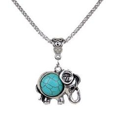 Vintage Style Turquoise Elephant Pendant $2.66 Shipped! #jewelry #deals