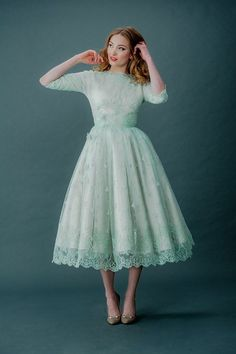 Mint Tinted Lace and Tea Length Wedding Dresses by Joanne Fleming Design
