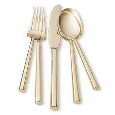 Threshold™ 5 Piece Izon Flatware Set - Gold: I'm pinning this more for inspiration than anything else. Apparently the quality of this set is not so great, but I like the modern, clean profile of these
