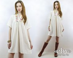 Festival Dress Hippie Dress Hippy Dress Boho Dress Cream Mexican Dress Embroidered Dress Vintage 70s Cream Embroidered Mini Dress S M L by shopEBV on Etsy https://www.etsy.com/listing/289558685/festival-dress-hippie-dress-hippy-dress