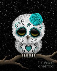 'Cute Teal Blue Day of the Dead Sugar Skull Owl' Art Print by jeff bartels Niedlicher + aquamariner + blauer + Tag + der + toten + Zuckerschädel-Eule Sugar Skull Owl, Sugar Skull Tattoos, Sugar Skull Pumpkin, Red Day, Pink Day, Tattoo Model Mann, Owl Coffee, Day Of The Dead Art, Skull Painting