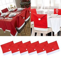 Red Santa Hat Coverings Chair Back Covers Christmas Chair Set Dinner Home Decor