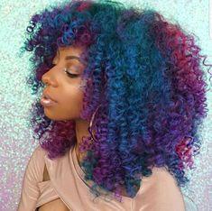 Hair, blue hair, dyed natural hair, natural curls, natural hair t Dyed Natural Hair, Pelo Natural, Dyed Hair, Purple Natural Hair, Natural Dreads, Natural Curls, Curly Hair Styles, Natural Hair Styles, Big Chop