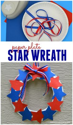 This paper plate star wreath is a fun, easy, and inexpensive patriotic craft kids can make for Memorial Day and Independence Day. Kids Crafts, Crafts For Seniors, Daycare Crafts, Toddler Crafts, Preschool Crafts, Projects For Kids, Craft Projects, Craft Kids, Senior Crafts