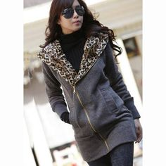 Zip Closure Leopard Inside Dark Grey Cotton Hooded