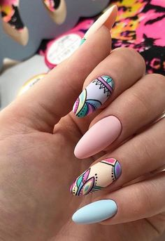 Nail art Christmas - the festive spirit on the nails. Over 70 creative ideas and tutorials - My Nails Pastel Nails, Pink Nails, My Nails, Cute Nails, Colorful Nails, Elegant Nails, Stylish Nails, Trendy Nails, Elegant Nail Designs
