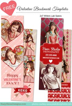 FREE - Valentine's Day Bookmark Templates for Photographers