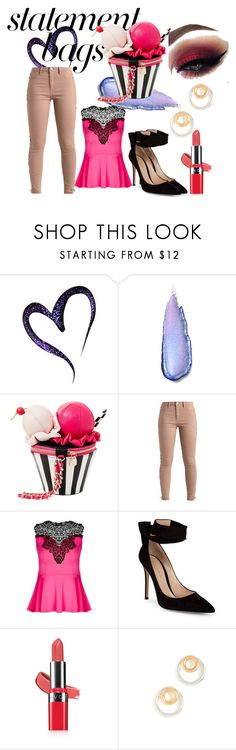 """""""Statement Bags"""" by hogwartspink ❤ liked on Polyvore featuring Stila, Betsey Johnson, City Chic, Gianvito Rossi, Avon, Madewell and statementbags"""