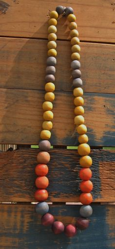 Multi Colored Hand Dyed Wooden Beaded Necklace by cbrdesign, $32.00