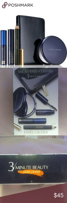 Estee Lauder's 3 Minute Beauty Set Brand new! The collection combines a trio of eye cosmetics dedicated to creating smokey, seductive makeup looks. Complete with a compact mirror and cosmetic bag.  Contents:  Mirror Makeup bag Sumptuous Infinite Daring Length + Volume Mascara?in Black 2.8ml (Full size) Magic Smoky Powder Shadow Stick?in?Burnt Black 1.2g Little Black Primer 2.8ml Estee Lauder Makeup
