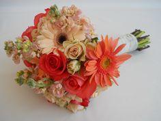 Coral and peach bridal bouquet