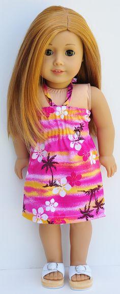 American Girl Dress  Pink Hawaiian Bandeau by LoriLizGirlsandDolls, $24.00