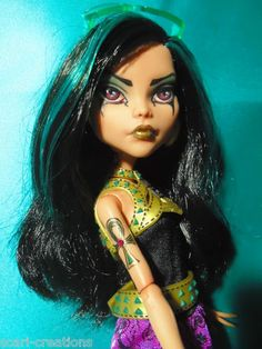 "Monster High Cleo OOAK Custom Repaint by Scari ""Wadjet"" Goth Egyptian 