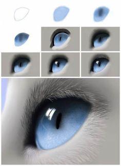 Katzenauge - Tutorial by - Digital Drawing - . - Art - Cat eye tutorial by digital drawing eye - Digital Art Tutorial, Digital Painting Tutorials, Art Tutorials, Digital Paintings, Eye Drawing Tutorials, Cat Eye Tutorial, Drawing Tips, Drawing Hair, Drawing Ideas