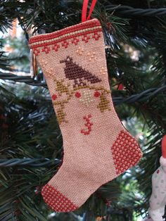 Christmas stocking cross stitch ornament