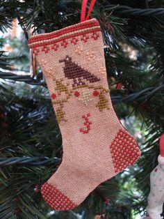 Christmas stocking cross stitch ornament