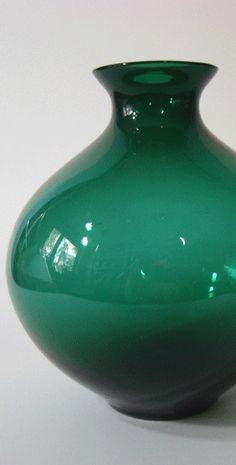 Glas Vase grün Design Bruno Mauder 20er 30er Bauhaus Era Glasfachschule Zwiesel