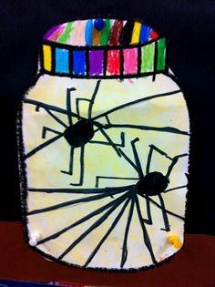 Herfst: spinnen in een glazen pot