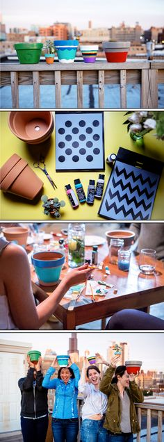 Sometimes for rookies, Pinterest crafts can get way out of hand. This go-round, we opted for simplicity with a summertime feel using terra cotta pots, paint and brushes, stencils and some creative thinking.
