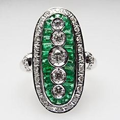 Natural Diamond & Emerald Cocktail Ring Solid 14K White Gold