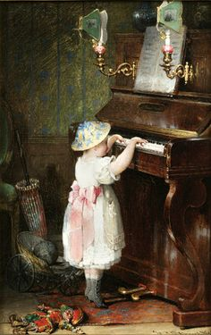 Hendricus-Jacobus Burghers (Dutch, 1834-1899): Young Girl Playing Piano (On my board  Music - Art  Photogarphy. Irit Volgel).