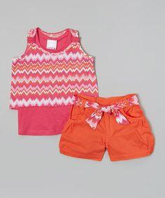Look what I found on #zulily! Pink Zigzag Layered Top & Orange Shorts - Toddler & Girls #zulilyfinds