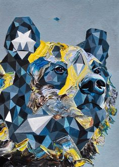 Stunning Geometric Paintings by Juan Manuel Travieso Wild Animals Photography, Art Photography, Geometric Painting, Art Archive, Bear Art, B & B, Art Drawings, Lion Sculpture, Illustration Art