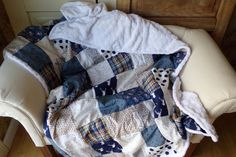 soft and cuddly and great for layering on the bed! Wilderness Minky Patchwork Blanket Modern by laruedefleurs on Etsy