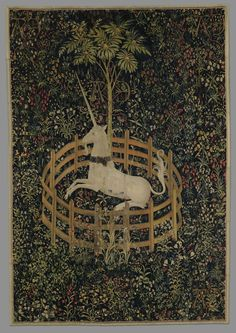 The Unicorn in Captivity (from the Unicorn Tapestries), 1495-1505. Gift of John D. Rockefeller Jr., 1937. Image courtesy of the Metropolitan Museum of Art.