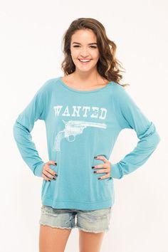 Wanted Long-Sleeve Tee (Blue)