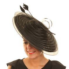 Wedding Fascinator Hat - Black Pleated Disc Sinamay