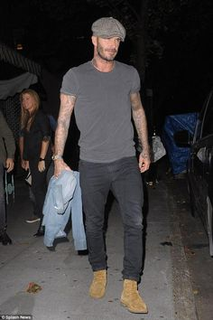 David Beckham wearing Saint Laurent Cigar Brushed-Suede Boots, Lock and Hatters Muirfield Tweed Cap and Saint Laurent Skinny Fit Denim Jeans