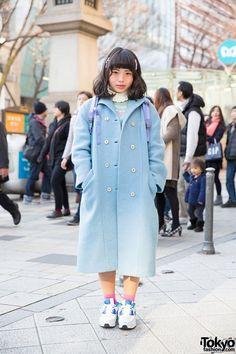 Pastel Blue Panama Boy Coat, North Face Backpack & Sneakers in Harajuku