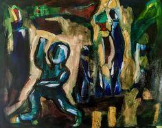 """""""Sortir de l'Ombre"""" , 2017, acrylique sur papier, 65x50cm issu du projet """"painting emotions"""""""