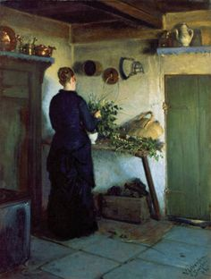 Kitchen Interior. The artist's wife arranges flowers, 1884, Viggo Johansen. Danish Realist Painter (1851-1935)