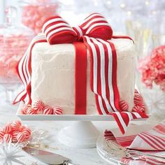 Our Best Christmas Cakes | White Cake with Peppermint Frosting  | MyRecipes.com