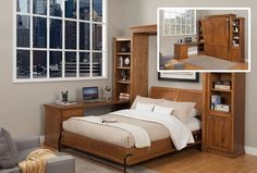 The Verona wallbed has the perfect design for a working professional. Fits perfectly in any home office helping you to make the best… Space Saving Bedroom, Modern Murphy Beds, Bed Wall, Verona, Sofa Bed, Bedroom Furniture, Home Office, Cabinet, Design
