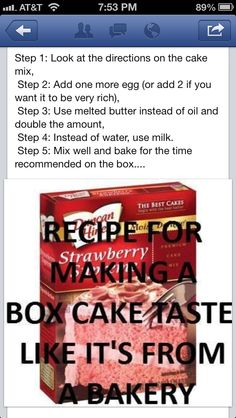 Just tried this out for Bryce's birthday cake and it was really good.making a box cake taste like it is from a bakery -. will never make another box cake the old way again! Cupcakes, Cupcake Cakes, Bundt Cakes, Cake Mix Recipes, Dessert Recipes, Dessert Ideas, Dip Recipes, Sweet Recipes, Lila Party