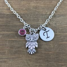 Personalized Owl Necklace - Hand stamped Monogram Owl Lover Necklace - Initial, Birthstone Necklace - Teacher Necklace by SunflowerShadows on Etsy