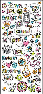 KID DOODLE GIRL Cardstock Stickers scrapbooking TEXTING Shopping 99 CENT SALE!