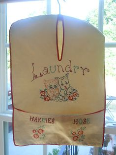 Vintage Laundry Bag - Hand Embroidered Grandma Bunny had something like this!!!!!