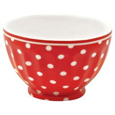 GreenGate Stoneware French Bowl Small Spot Red