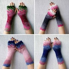 These are the dragon inspired fingerless gloves crotched and sold by Etsy store Mareshop. They're all hand-knit and crocheted, come in a variety of different color combinations, cost $40+ depending on the length of the glove, and have little...