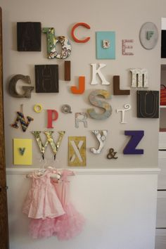 Funky alphabet wall in the nursery - #nursery #nurserydecor