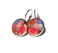 Vibrant Pink Floral Dangle Resin Earrings 16mm by MyBlossomCouture